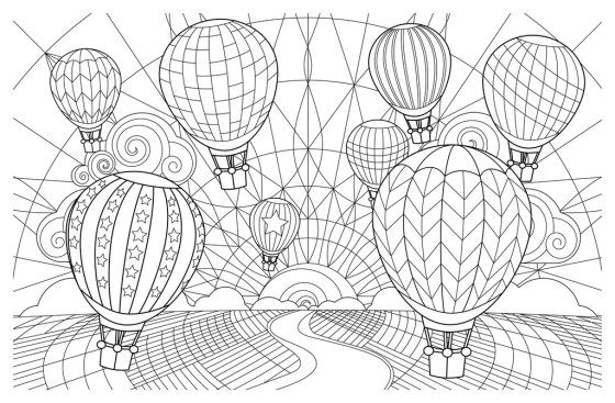 Coloring Pages Hot Air Balloon ศ ลปะ