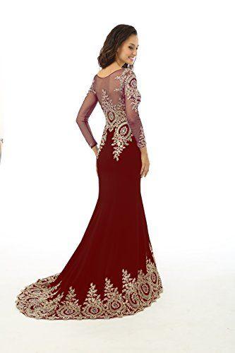Kings Love Womens Rhinestone Long Sleeve Mermaid Evening Dress ...