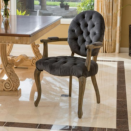 Exceptional Marlon Charcoal Velvet Arm Dining Chair