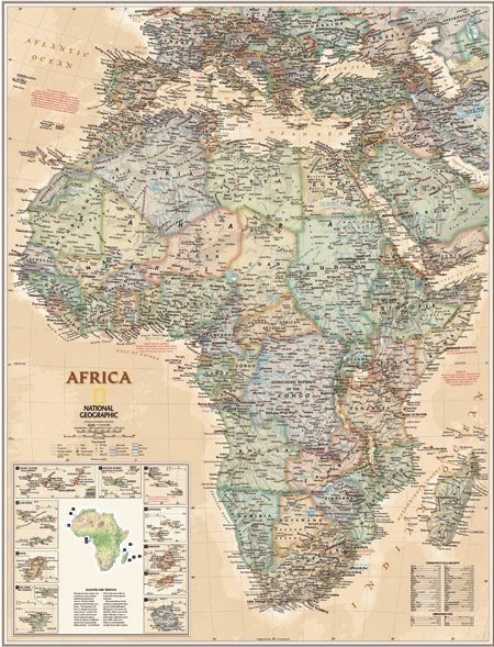 Africa Executive Antique Wall Map (National Geographic)   Map