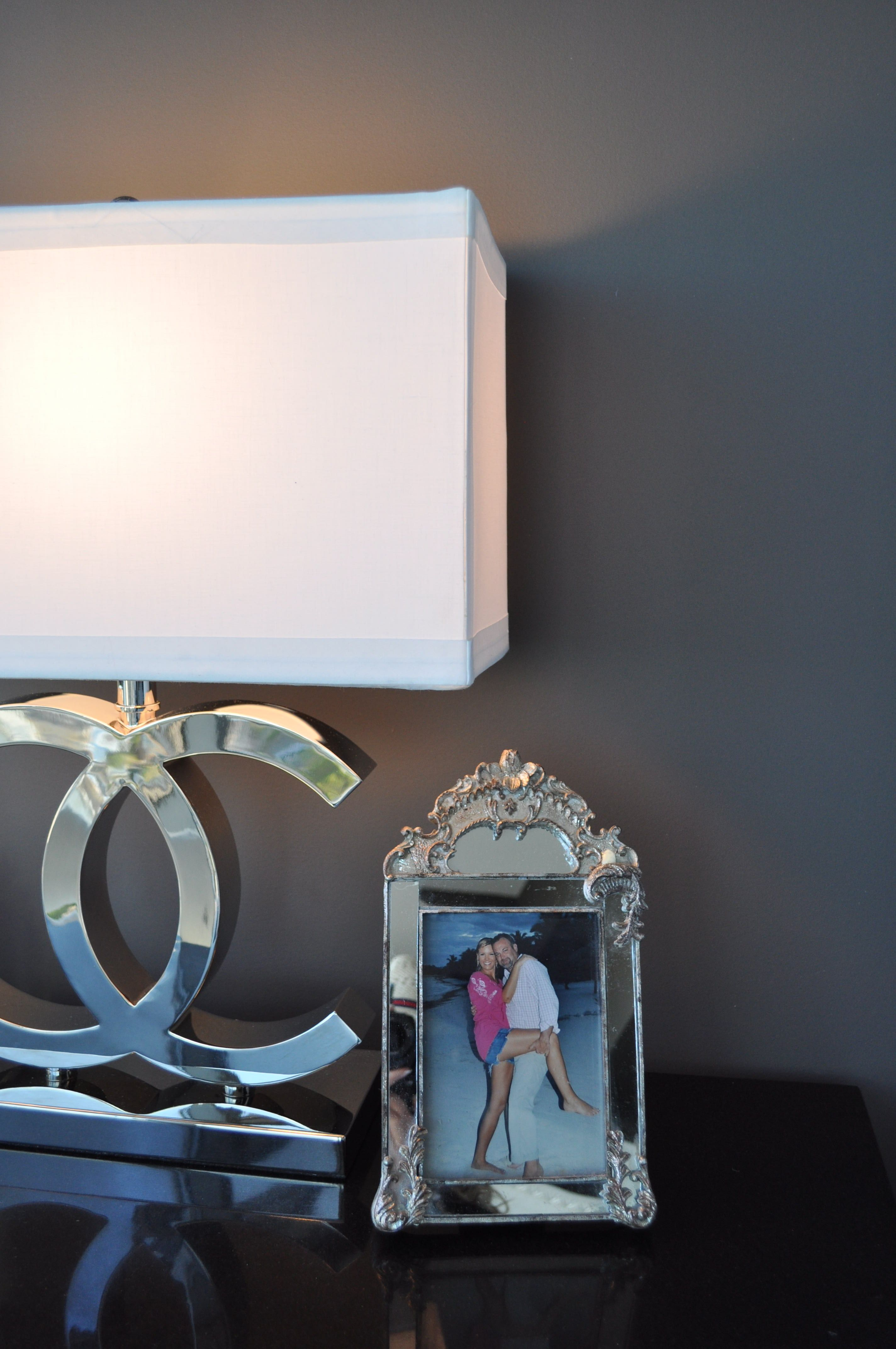 Attractive Chrome Chanel Lamps With Boxed White Shade