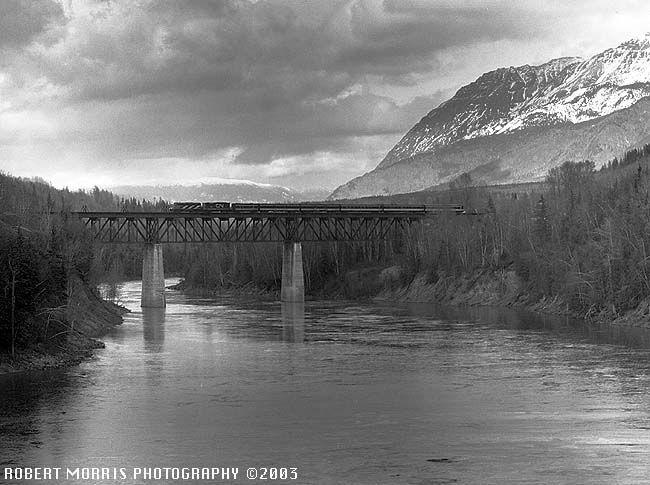 CANADIAN NATIONAL PASSENGER TRAINS 1972 - SKEENA ON TRESTLE NEAR HAZELTON B.C