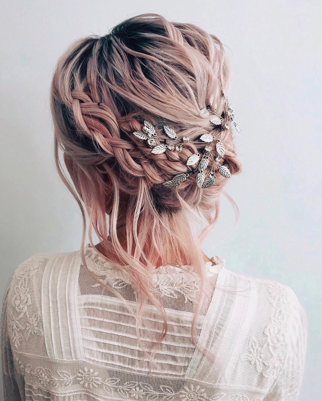textured braided updo hairstyle   wedding ideas   wedding