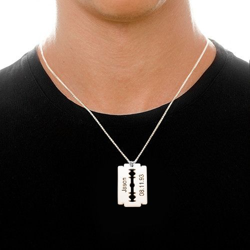 Engraved razor blade necklace in sterling silver thecheapjerseys Choice Image