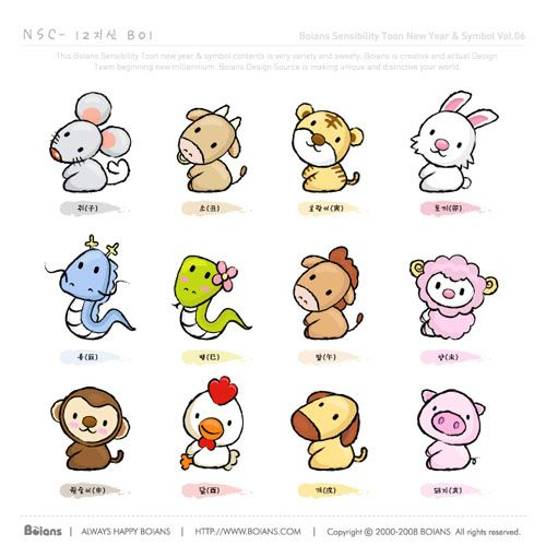 Chinese Zodiac Art Kids Cartoon Vector Zodiac Cute Cartoon