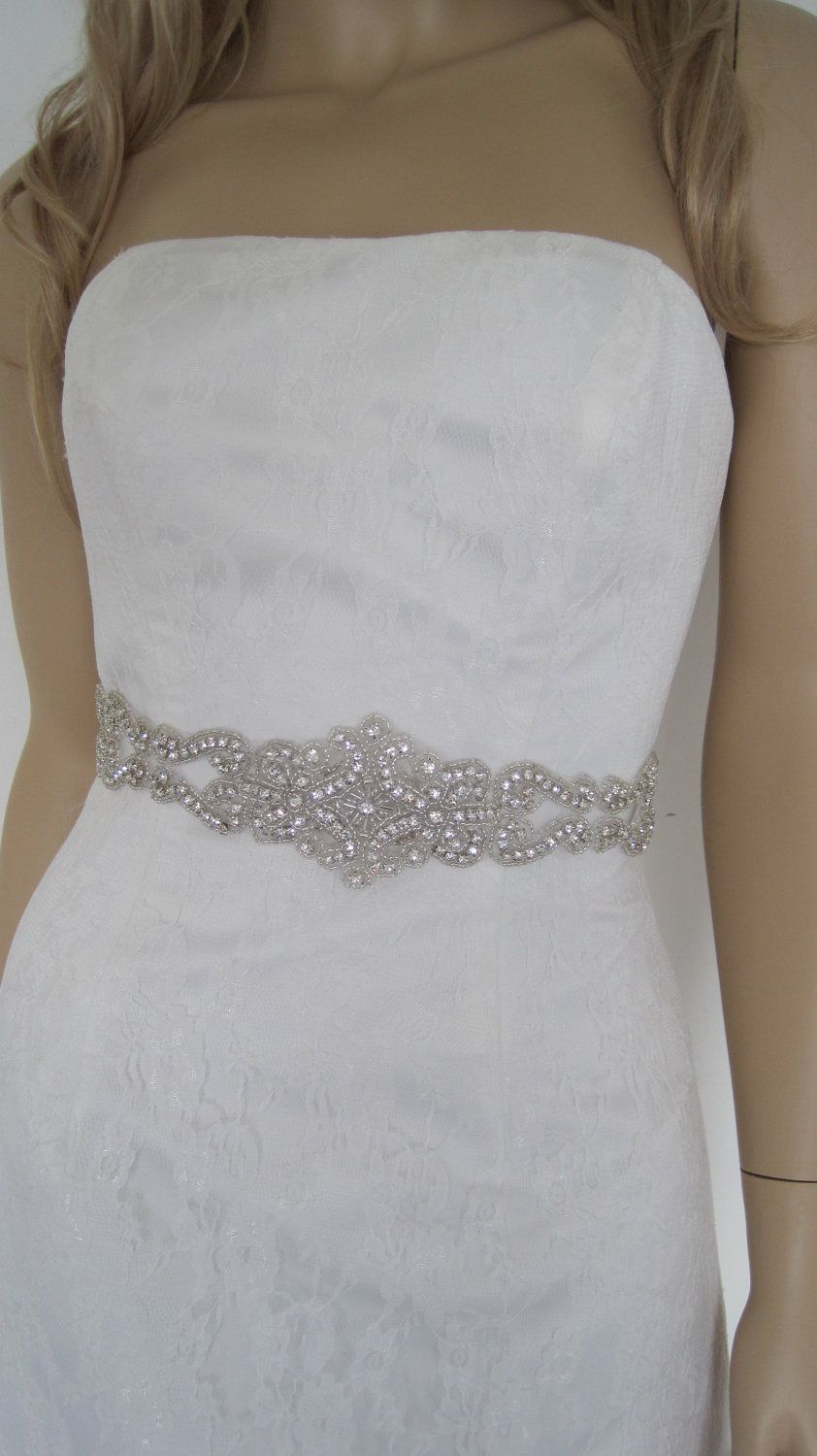 Fashion week Dress wedding sashes with crystals for woman