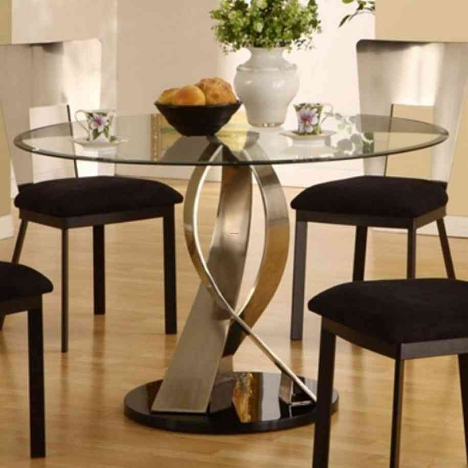 Retro Glass Top Dining Table Interior House Meja