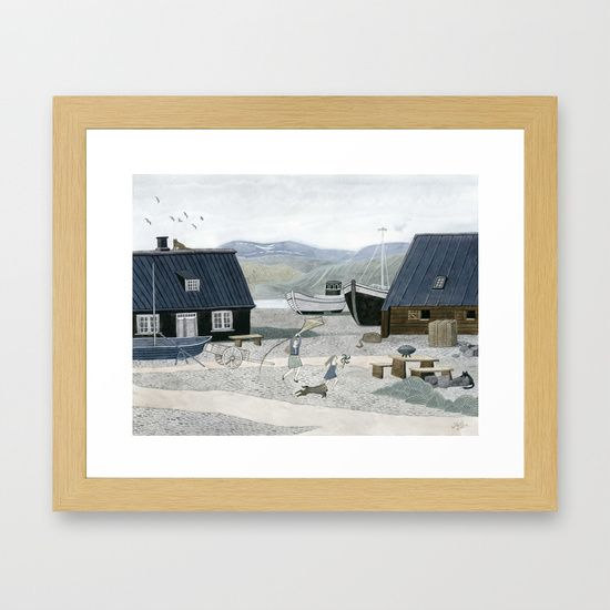 North Fishing Village Framed Art Print | Fishing villages and Art art