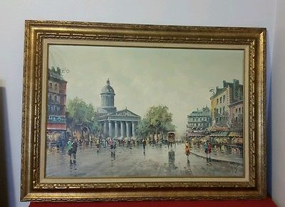 antonio devity painting on canvas paris street scene 36x24 gold frame