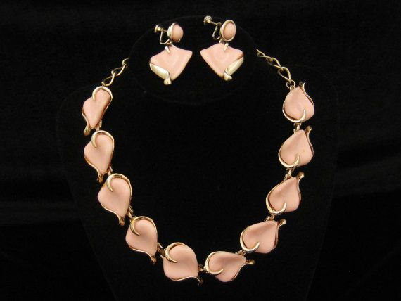 Vintage Pink Thermoset Necklace Earrings Demi by mimisvintageshop, $18.00