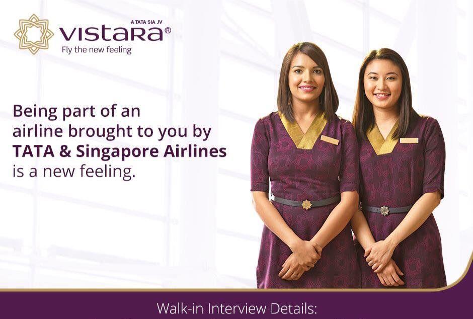 Vistara is Hiring Cabin Crew At Bangalore & Kolkata ONLY