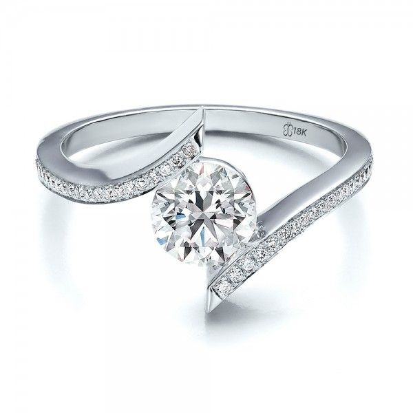 Contemporary Tension Set Pave Diamond Engagement Ring In