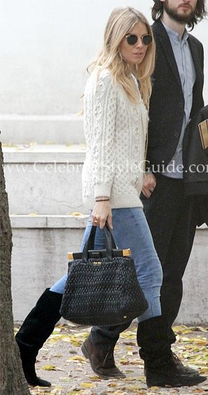 0b258919029c Sienna Miller Style and Fashion - Miu Miu Nappa Cloquet Frame Bag -  Celebrity Style Guide