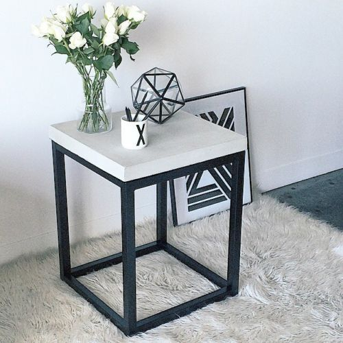 Best Cube Black Metal Steel Concrete Glass Top Bedside Side 400 x 300