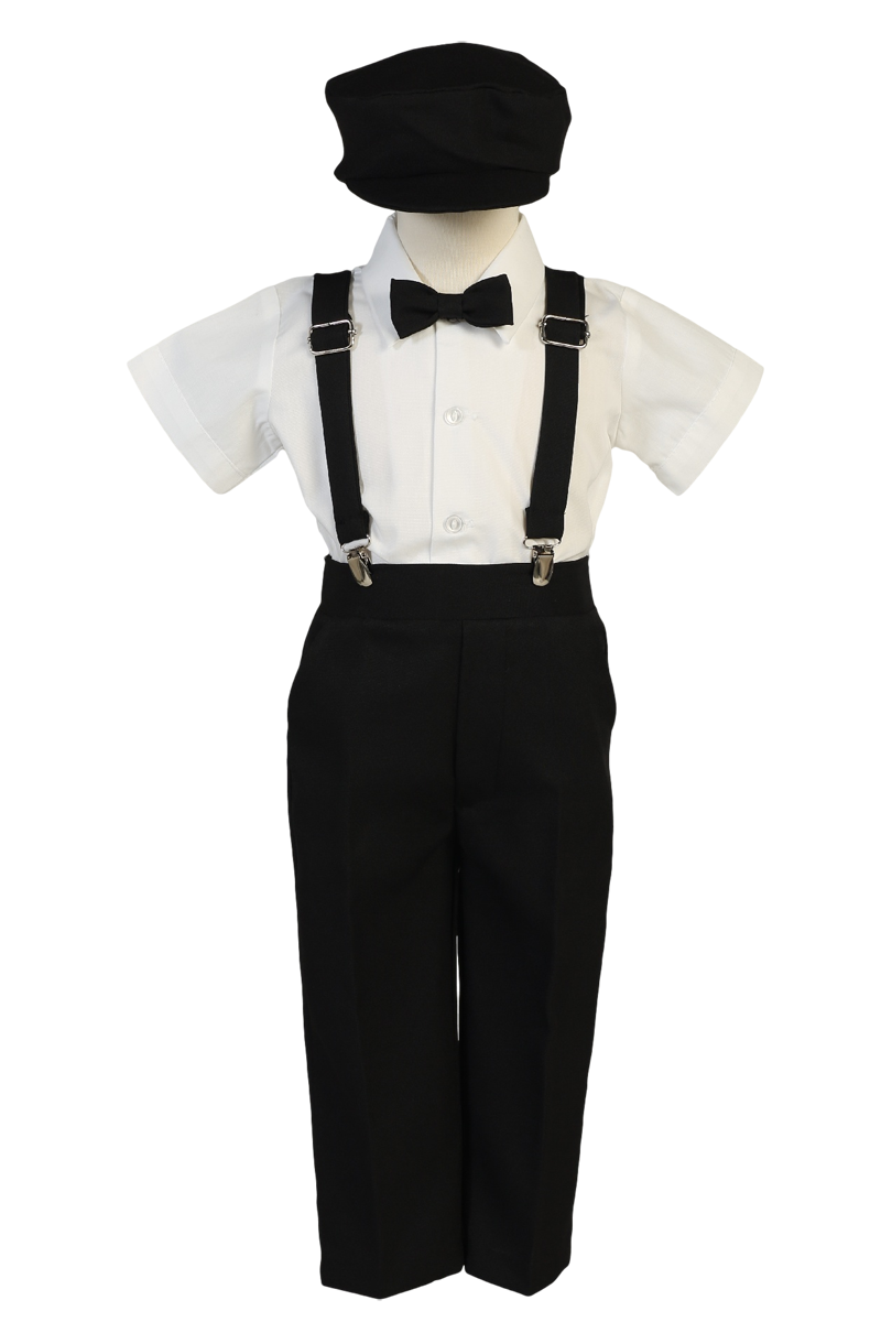 dbb3fb7c42a Black Suspender Pants   Dress Shirt 5 Pc Outfit with Cap (Baby 6 months to  Boys Size 7)