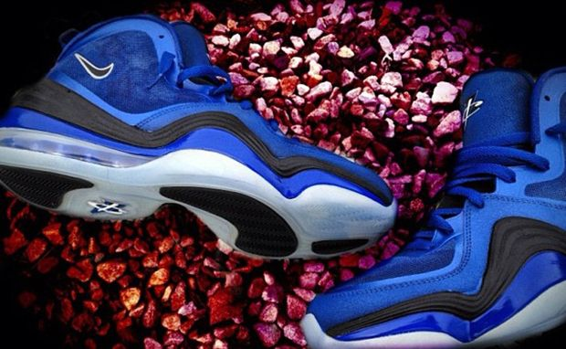 """Nike Air Penny V """"Magic"""" Custom    """"Mache brings magic to life in his latest trick, the Nike Air Penny V """"Magic"""" Custom. This latest creation lets the 90s Magic uniforms influence an-all blue upper designed with shooting stars. You can actually order your very own pair right now through Mache."""""""