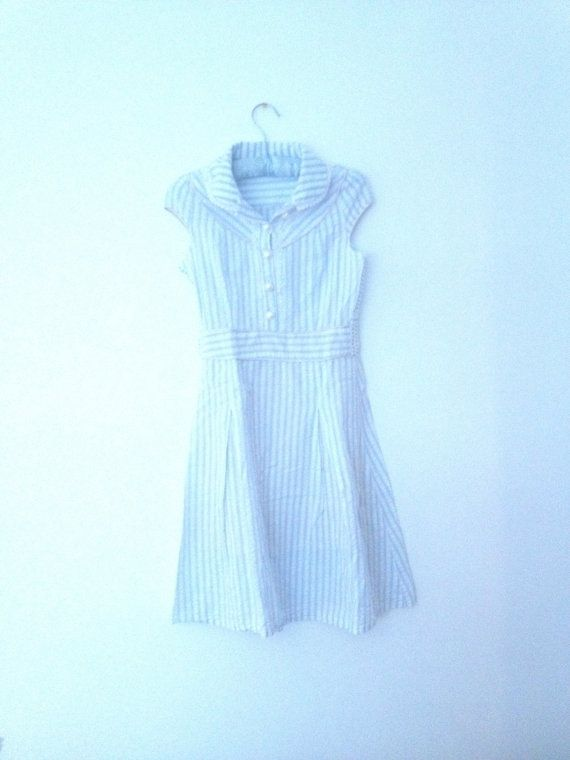 Blue PinStripe sz XS 50s Lace Detail Pearl Button Collared Pinup Sundress  on Etsy, $18.05