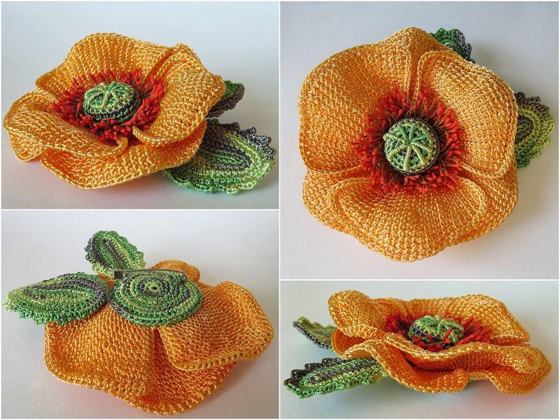 Роскошные маки крючком | Рукотворное чудо - цветы из ткани, атласных ...