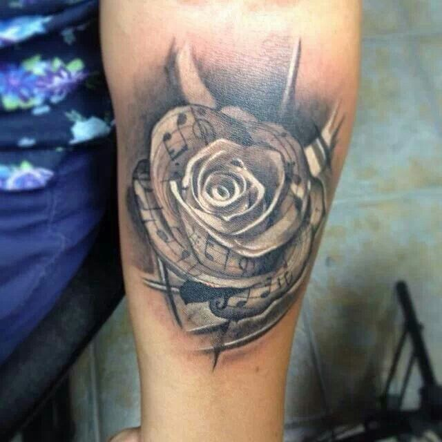 Music notes and rose tattoo tattoos pinterest rose for Rose tattoo song