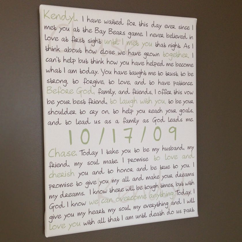 Wedding Vow Art For A Valentines Day Gift