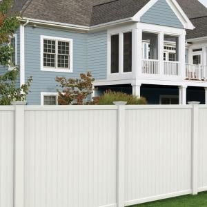 Veranda Somerset 6 Ft H X 6 Ft W White Vinyl Privacy Fence Panel 128009 The Home Depot Vinyl Fence Panels Vinyl Privacy Fence Vinyl Fence