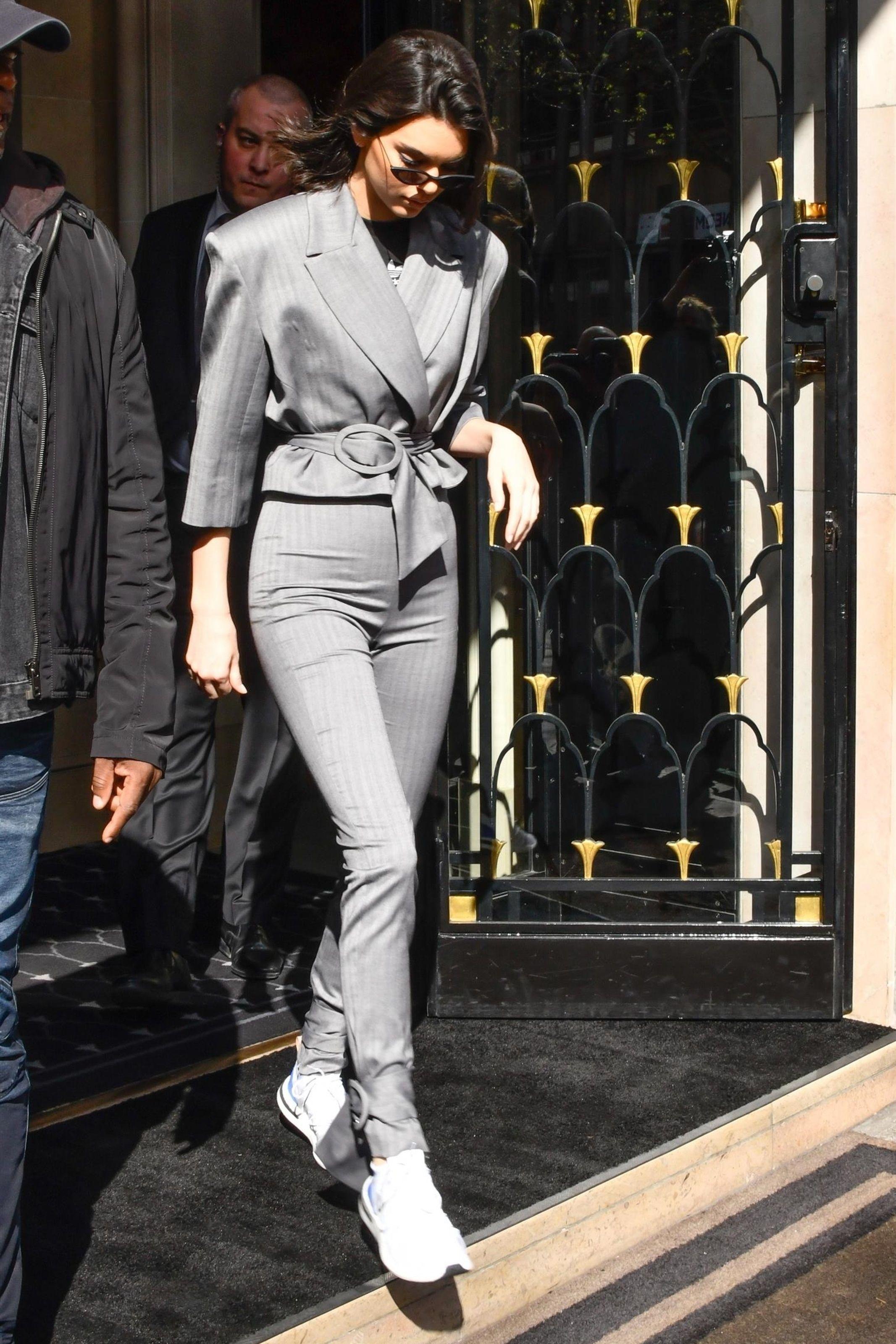 Kendall Jenner wearing Illesteva Marianne Sunglasses, Adidas