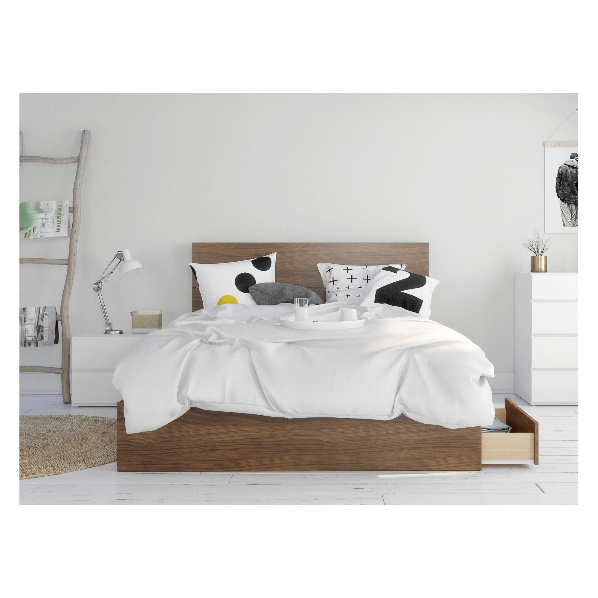 Hera 3pc Bedroom Set Queen Walnut & White Nexera, Adult