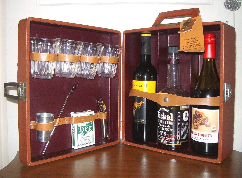 Vintage Portable Travel Bar Set Whiskey Brown W Key Made