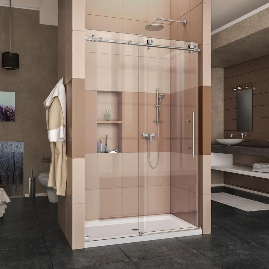Dreamline Enigma-X Brushed Stainless Steel 2-Piece Alcove Shower Kit ...