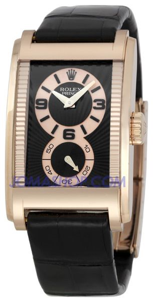 0da75cfe08c3 Rolex Cellini Prince Black Dial Leather Strap Mens Watch 54425 ...