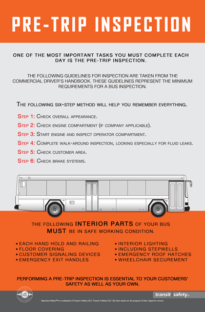 This safety poster has a training message for Bus PreTrip