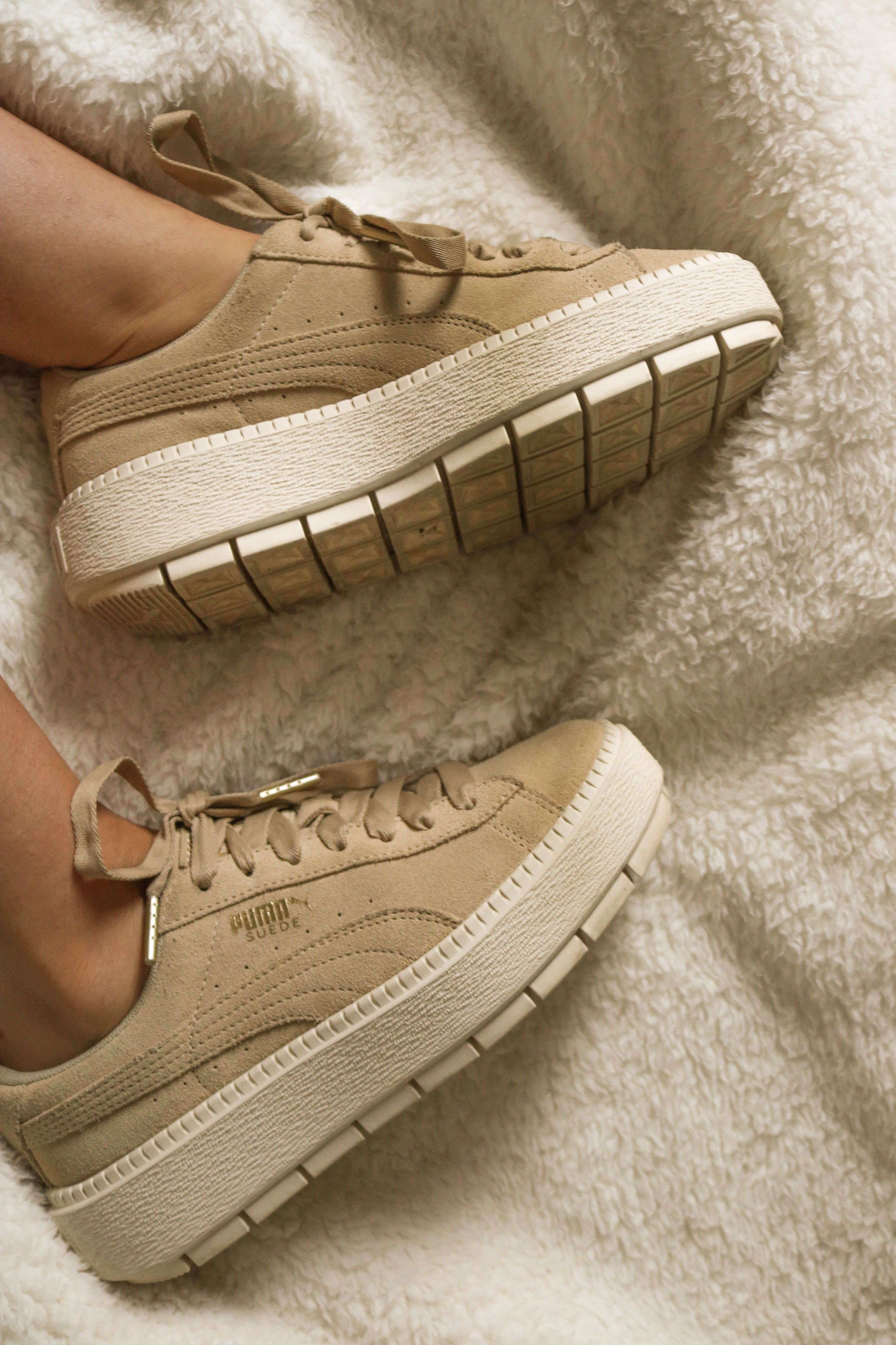 886df718b0e7c4 Puma Platform Trainers in Trace with Contrast Sole Suede Nude Beige Tan  Platform Trainers