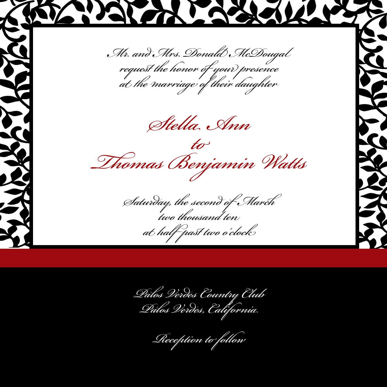 Baroque Red and Black Wedding Invitation by Yours Fondly ...
