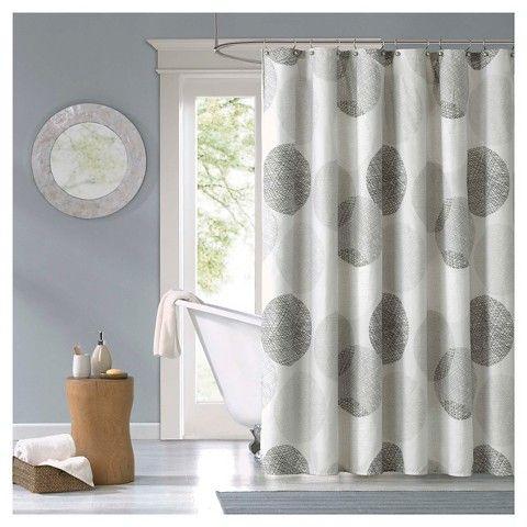 Cabrillo Geometric Print Microfiber Shower Curtain Gray Fabric