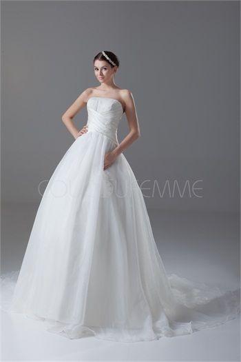 Robe de mariée A-ligne traditionnelle sans bretelles en organza/satin bustier 2015
