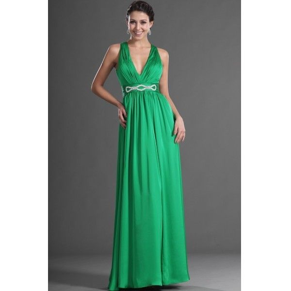 2013 New Green A-Line V-Neck Sexy Evening Dress EF1052E ($127) ❤ liked on Polyvore