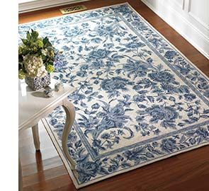 Blue Flowering Toile Rug