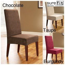 Sure Fit Soft Suede Shorty Dining Room Chair Slipcover Steadfast Fit Soft Suede Short Dining Room Chair Slipcover  Misc