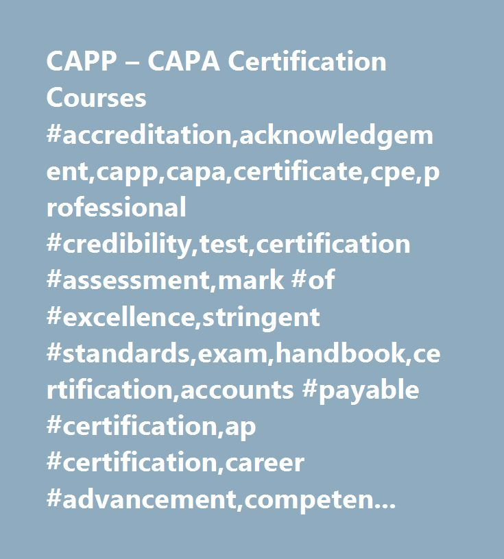 Capp Capa Certification Courses Accreditationacknowledgement