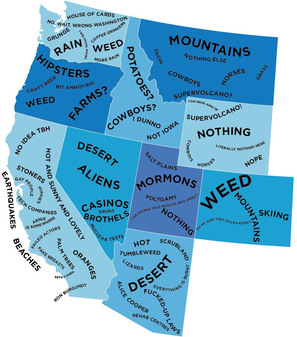 The West The Stereotype Map Of Every US State According To - State stereotypes alabama