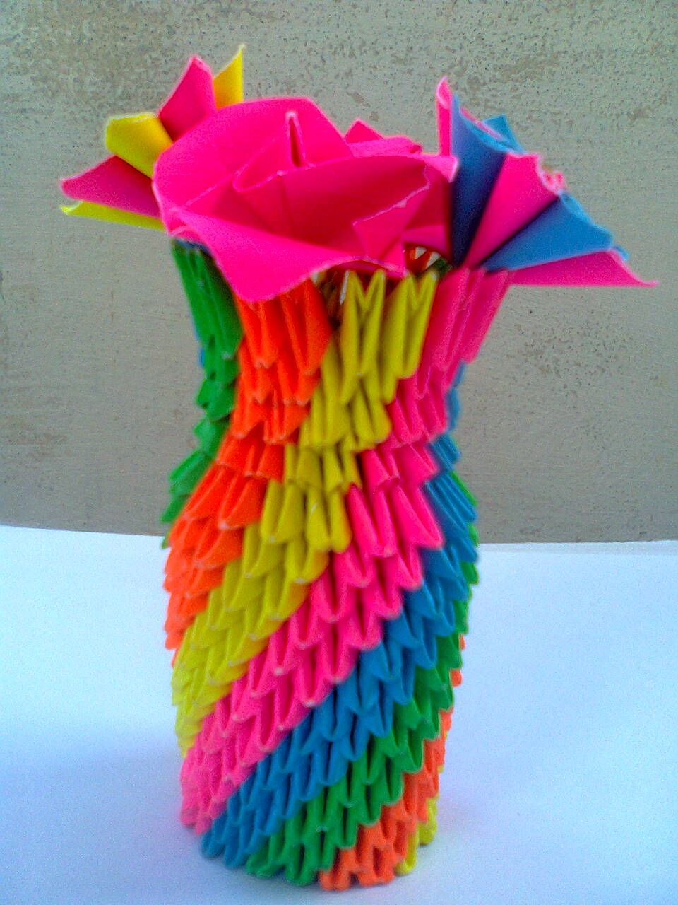3d Origami Flower Vase 3d Origami Arts Pinterest 3d Origami