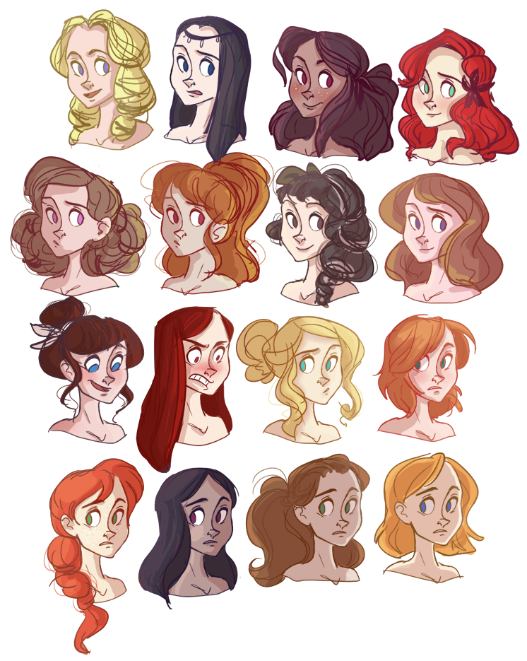 Character Design Hairstyles : Left to right top bottom oletha raven garnet