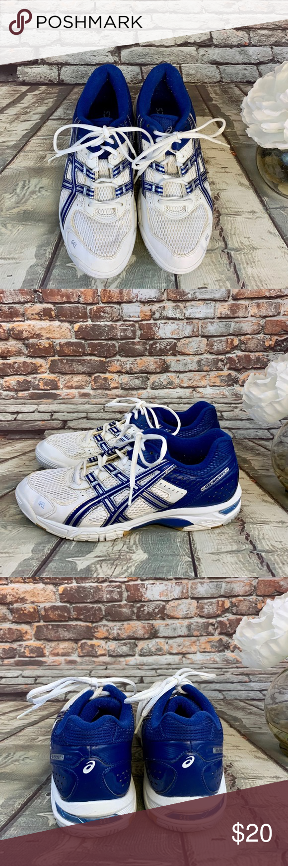 ASICS White Blue Silver Gel Rocket Volleyball Shoe ASICS White Blue Silver Gel Rasics