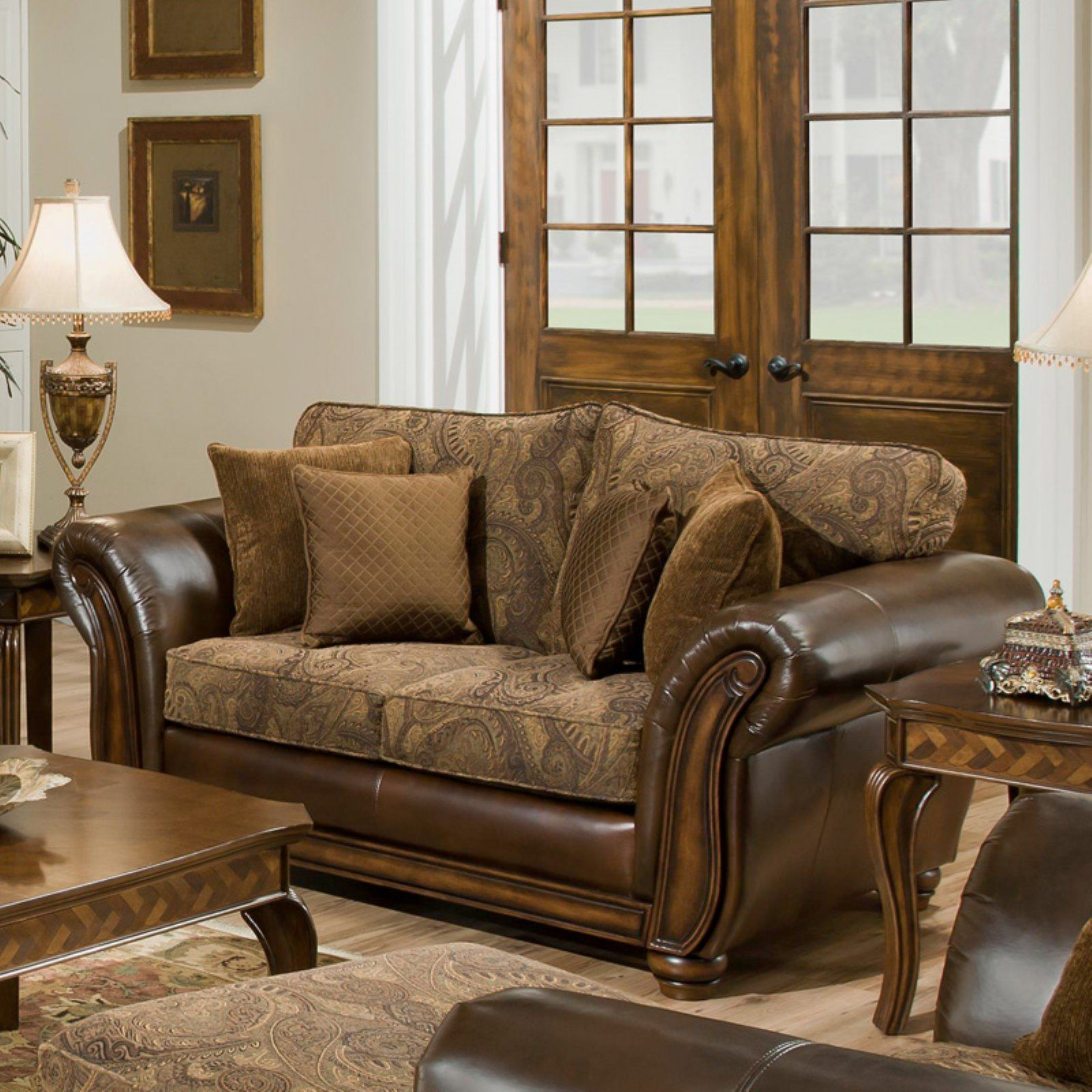 Simmons Zephyr Vintage Leather and Chenille Loveseat with Accent ...