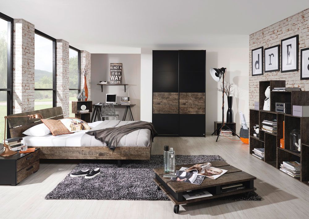 Schlafzimmer in Schwarz/Vintage-Optik braun, Schwebetürenschrank ...