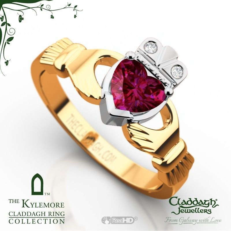 Engagement Rings Galway: The Kylemore Claddagh Ring In 18kt Yellow Gold & Ruby
