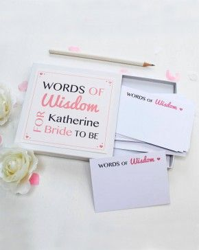 bride to be words of wisdom notes gift idea for bridal shower a special gift for the bride to be to offer her some personal funny or sentimental