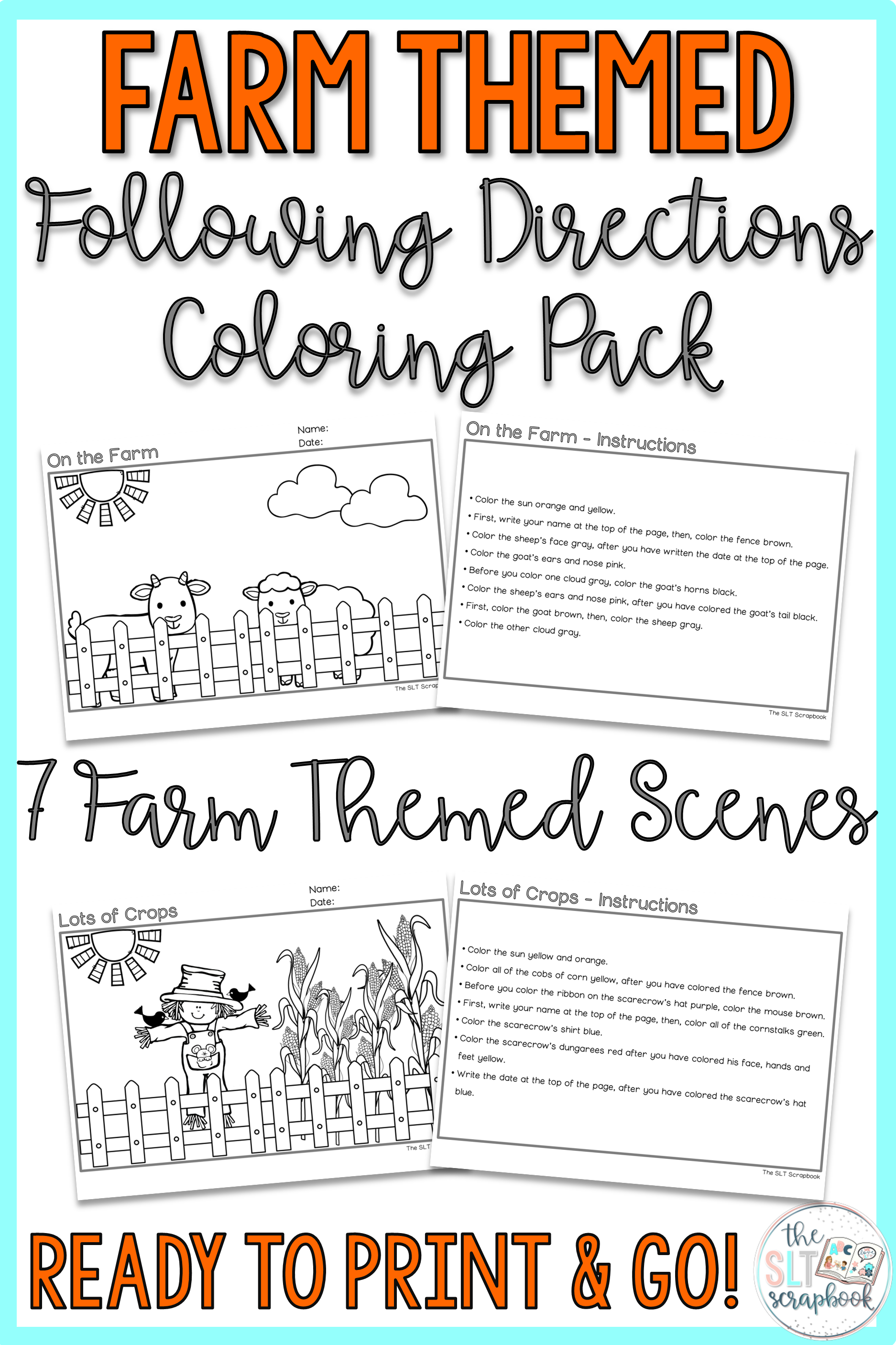 Farm Themed Following Directions Coloring Pack Mixed