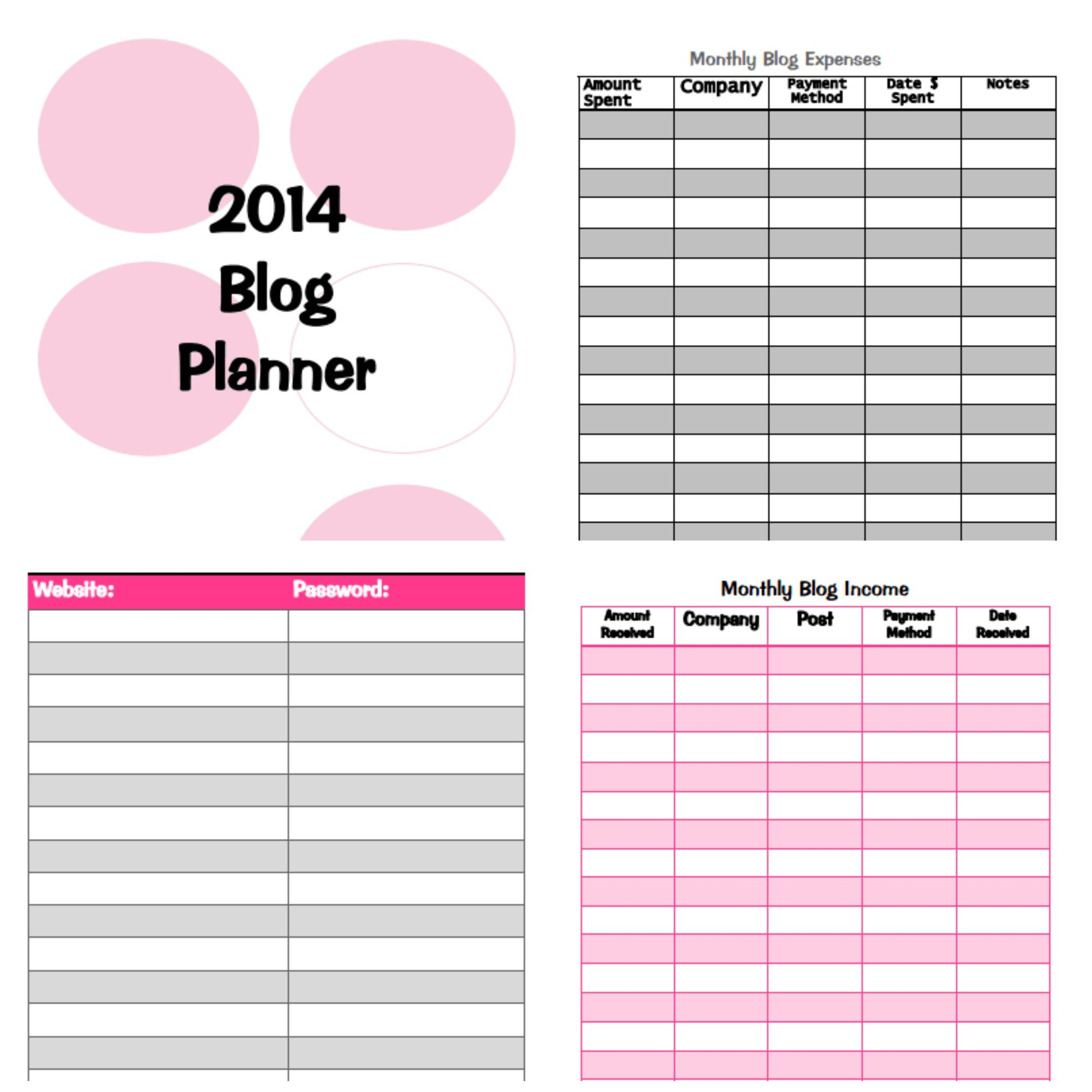 Printable Blog Planner Has Monthly Income Expense