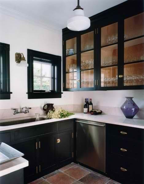 Black cabinets | Dream House | Pinterest | Vitrinas, House y Cocinas ...
